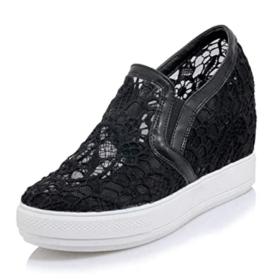 5668961a53fb Women s Hidden Heel Wedges Shoes Low Top Platform Casual Lace Pull On  Fashion Sneakers Black
