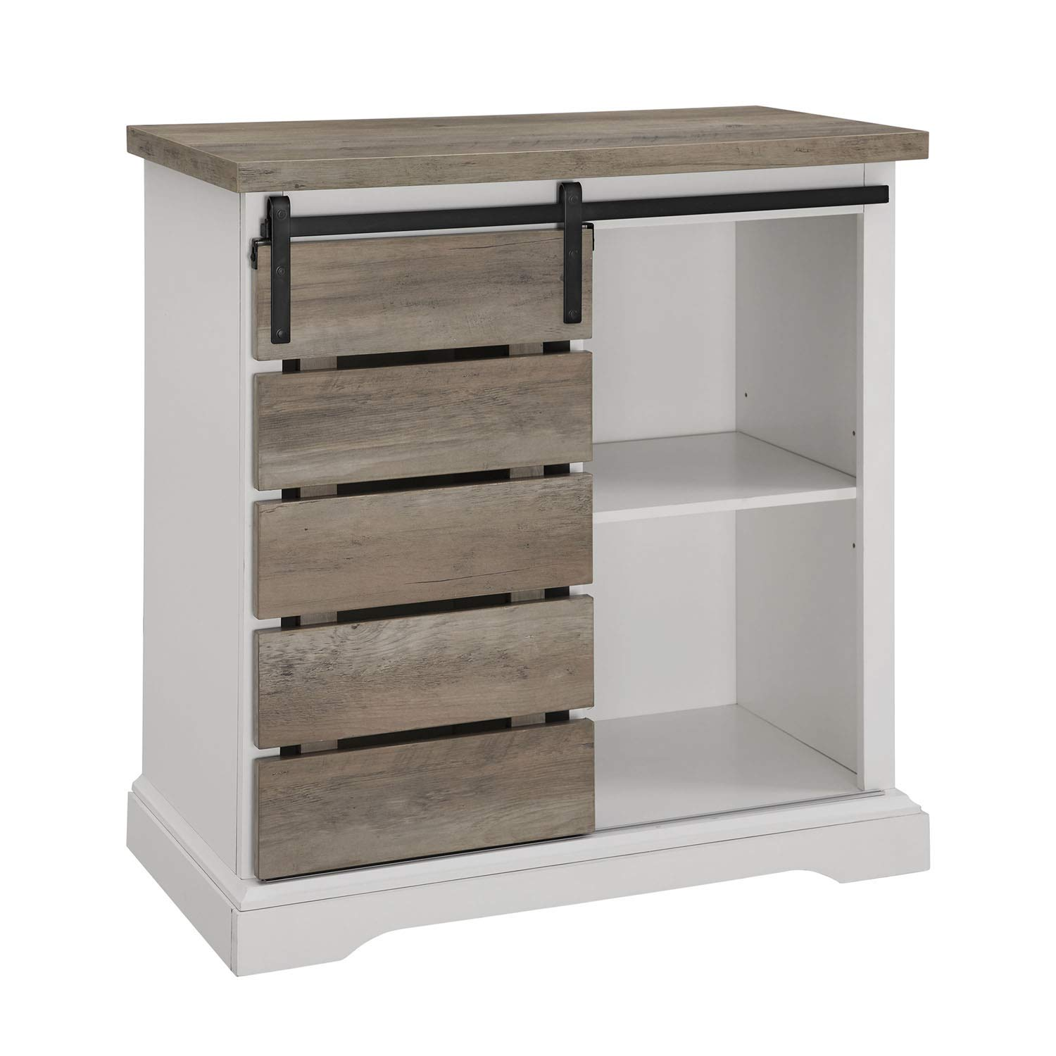 "Walker Edison Furniture Company 32"" Rustic Farmhouse TV Stand - Solid White and Grey Wash"