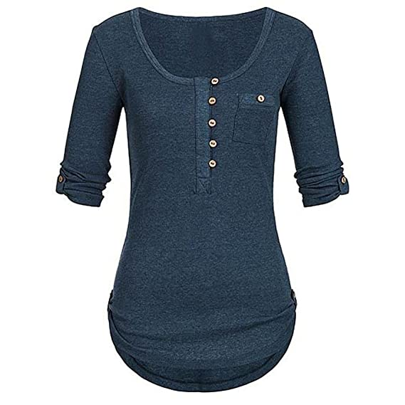 ❤ Tefamore Camiseta de Mujer con Botones de Manga Larga Camisetas Casual Mujer Blusas Mujer Tallas Grandes En Ofertas: Amazon.es: Ropa y accesorios
