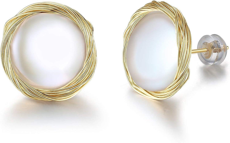 Pendientes hechos a mano con alambre de oro de 14 quilates, 10 mm, perlas cultivadas en agua dulce para mujeres y niñas