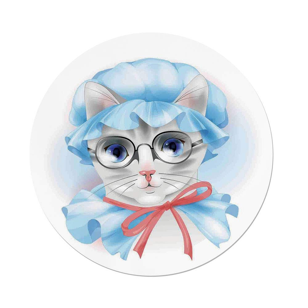 iPrint Polyester Round Tablecloth,Cat,Granny Grandma Old Kitty with Her Old Fashioned Pyjamas and Reading Glasses Artsy,Blue Pink Grey,Dining Room Kitchen Picnic Table Cloth Cover,for Outdoor Indoor