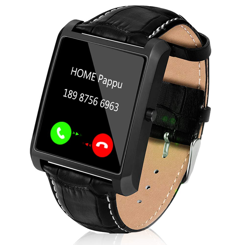 Smart Watch for Android Phones, Men Smart Watches for iPhones 1.54 inch Touchscreen Cell Phone Watch with Leather Strap Camera Bluetooth Heart Rate Monitor Pedometer by Lemfo (Black)