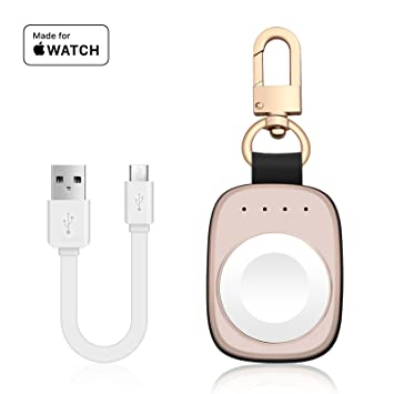 FLAGPOWER Wireless Apple Watch Cargador, MFi Certified Portable Emergencia magnética Lifeline Banco de energía Externa 700mAh con Gancho de Llavero ...