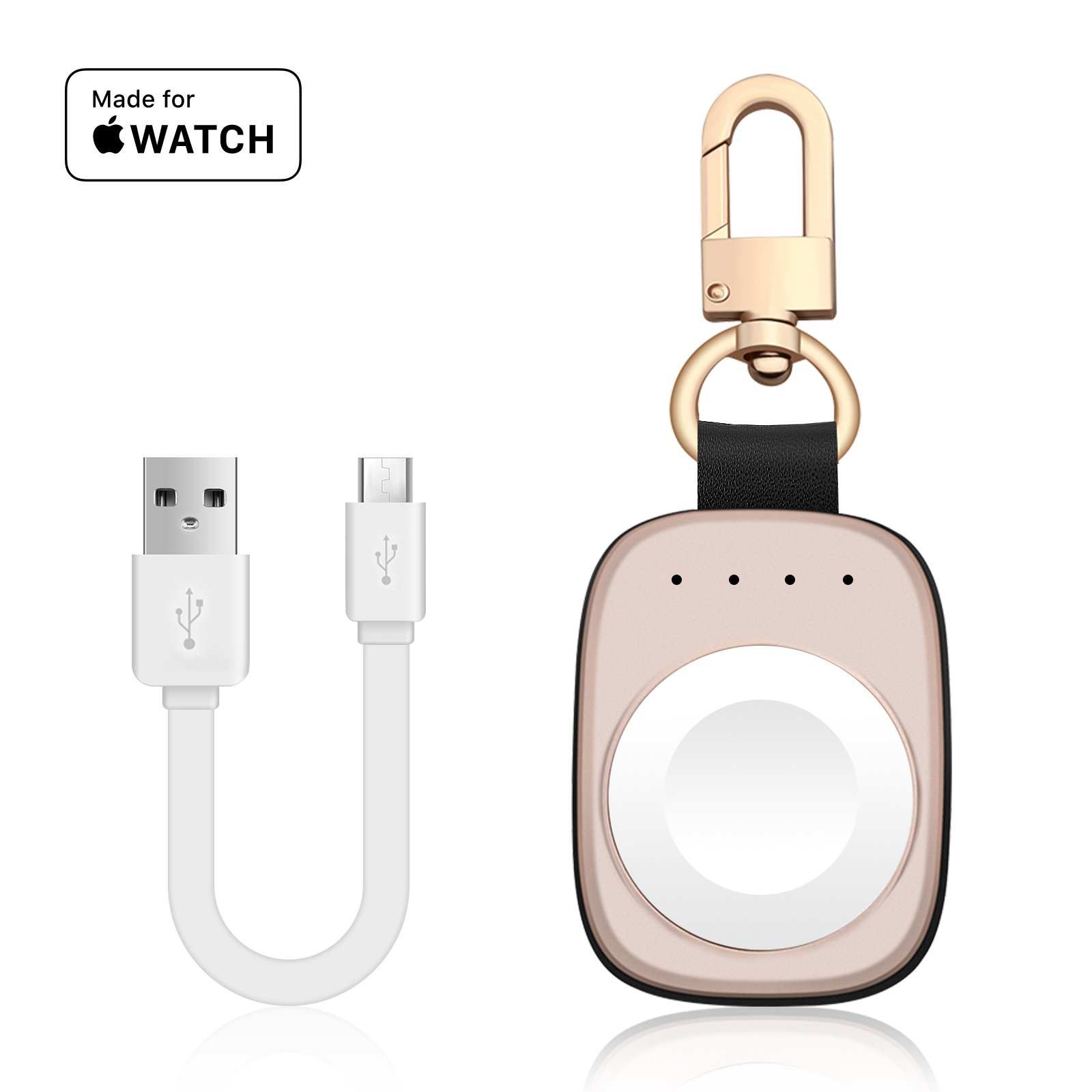 FLAGPOWER Portable Wireless Apple Watch Magnetic Charger, [Apple MFI Certified] Pocket Sized Keychain for Travel, Built in Power Bank for iWatch, Compatible with Apple Watch Series 3/2/1/Nike+