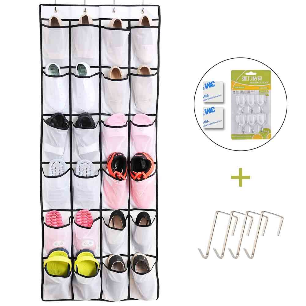 Over the Door Shoe Organizer - 24 Breathable Pockets, Hanging Shoe Organizer Sturdy Shoe Bag Organizer with Customized Metal Hooks Accessories for Bathroom, Laundry Items (60''x22'') by AISQHQ