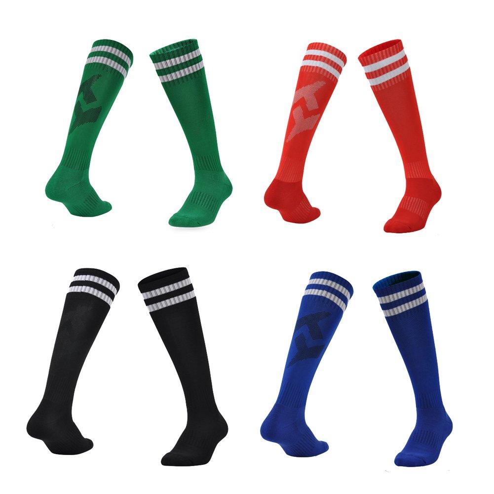 YallFairy 4 Pairs Kids Boys Girls Athletic Football Soccer Socks Knee High Long Socks Tube Socks (set A)
