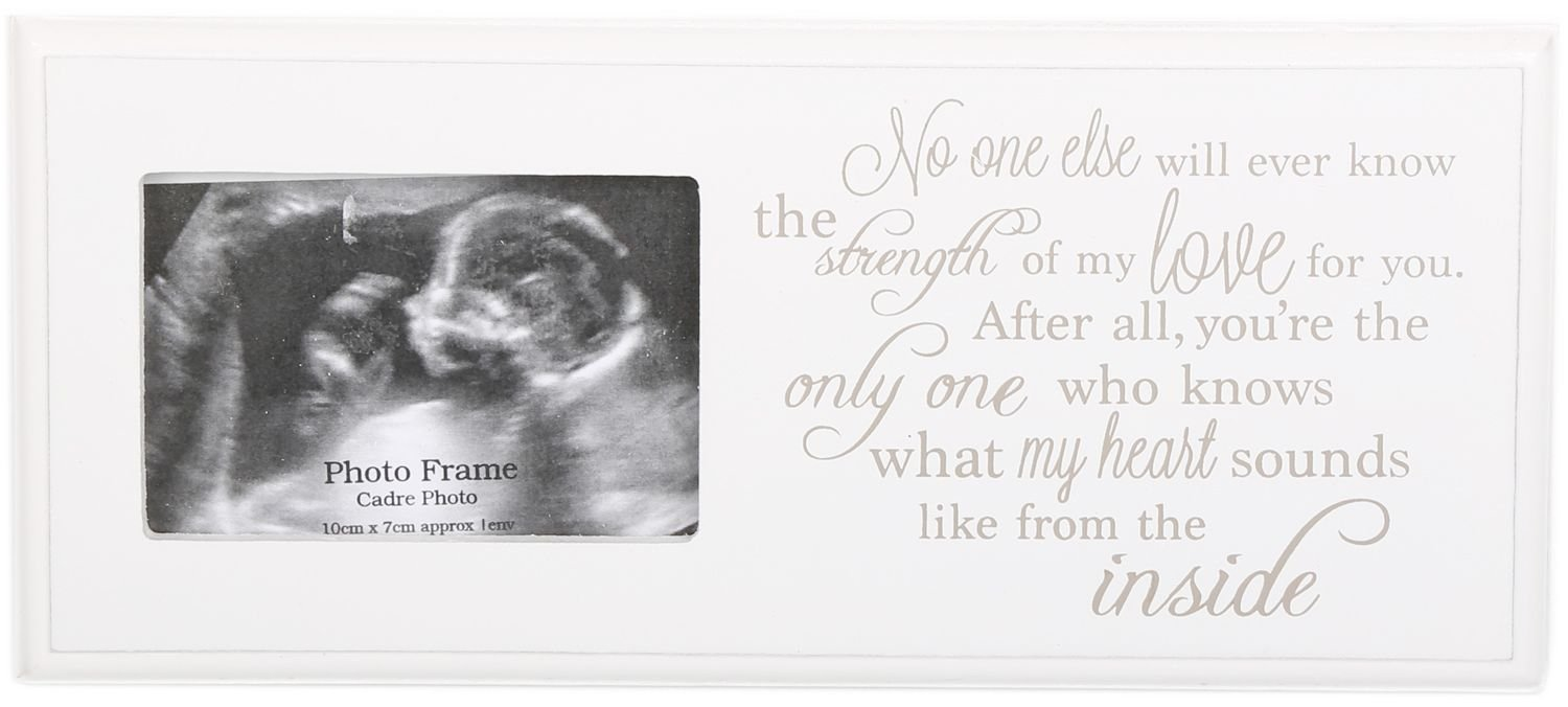 'Brand New Baby Scan Picture Frame with Cute Sentiment Verse Printed in Cream & White Carousel Home