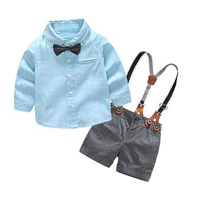 bieten eine große Auswahl an beste Turnschuhe attraktiver Stil Baby Kurzarm gestreiftes Fliege Hemd Top + Jumper Shorts Set ...