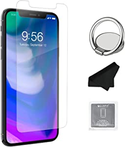 ZAGG InvisibleShield Glass+ Screen Protector – HD Tempered Glass for iPhone XS/X – Impact & Scratch Protection, Easy to Apply Tools Included (2 PACK) + Phone Ring Holder Finger Kickstand - Bundle