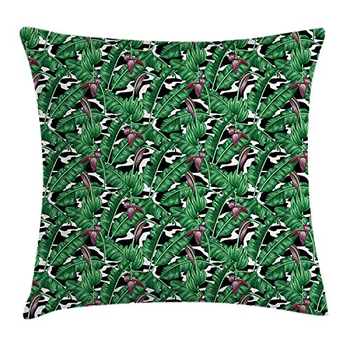 K0k2t0 Boho Throw Pillow Cushion Cover, Bohemian Tropical Plants Orchid Flowers Foliage on Modern Display, Decorative Square Accent Pillow Case, 18 X18 Inches, Dried Rose Hunter Green Black (Hunter Settee)