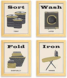 Ihopes Laundry Room Decor Wall Art Prints | Set of Four 8x10 Unframed | Funny Laundry Room Sign Iron Wash Fold Sort Posters| Perfect for Laundry Room Home Decor