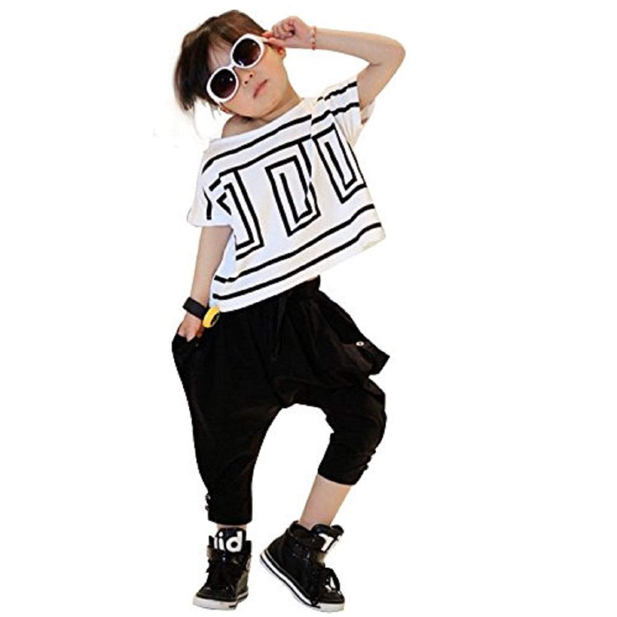 Girls' Summer 2PCS Clothing Set Short-Sleeve Top and Black Harem Pants (3-4 Years/Tag 110)