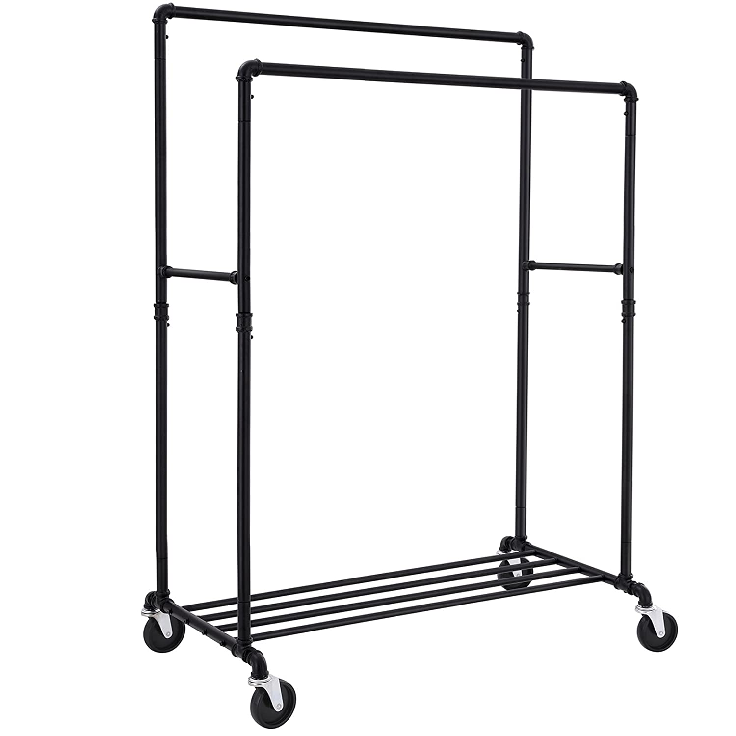 SONGMICS Industrial Pipe Clothes Rack Double Rail on Wheels with Commercial Grade Clothing Hanging Rack Organizer for Garment Storage Display, Black ...