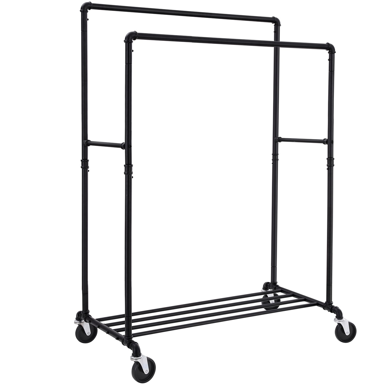 SONGMICS Industrial Pipe Clothes Rack Double Rail on Wheels with Commercial Grade Clothing Hanging Rack Organizer for Garment Storage Display, Black UHSR60B by SONGMICS