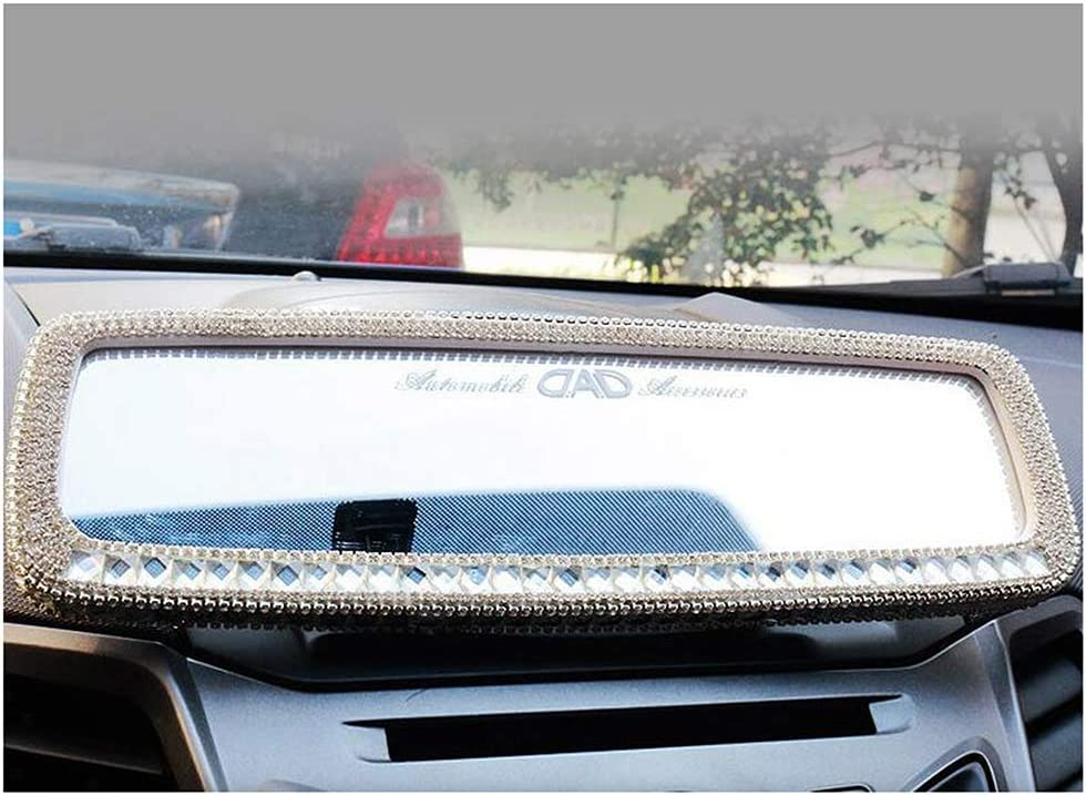 Siyibb Bling Rhinestones Car Rearview Mirror for Girls Auto Accessories White