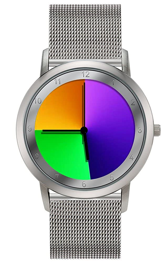 Rainbow e-motion of color Avantgardia - Reloj de cuarzo unisex, con correa de acero inoxidable, color plateado: Paul Heimbach: Amazon.es: Relojes