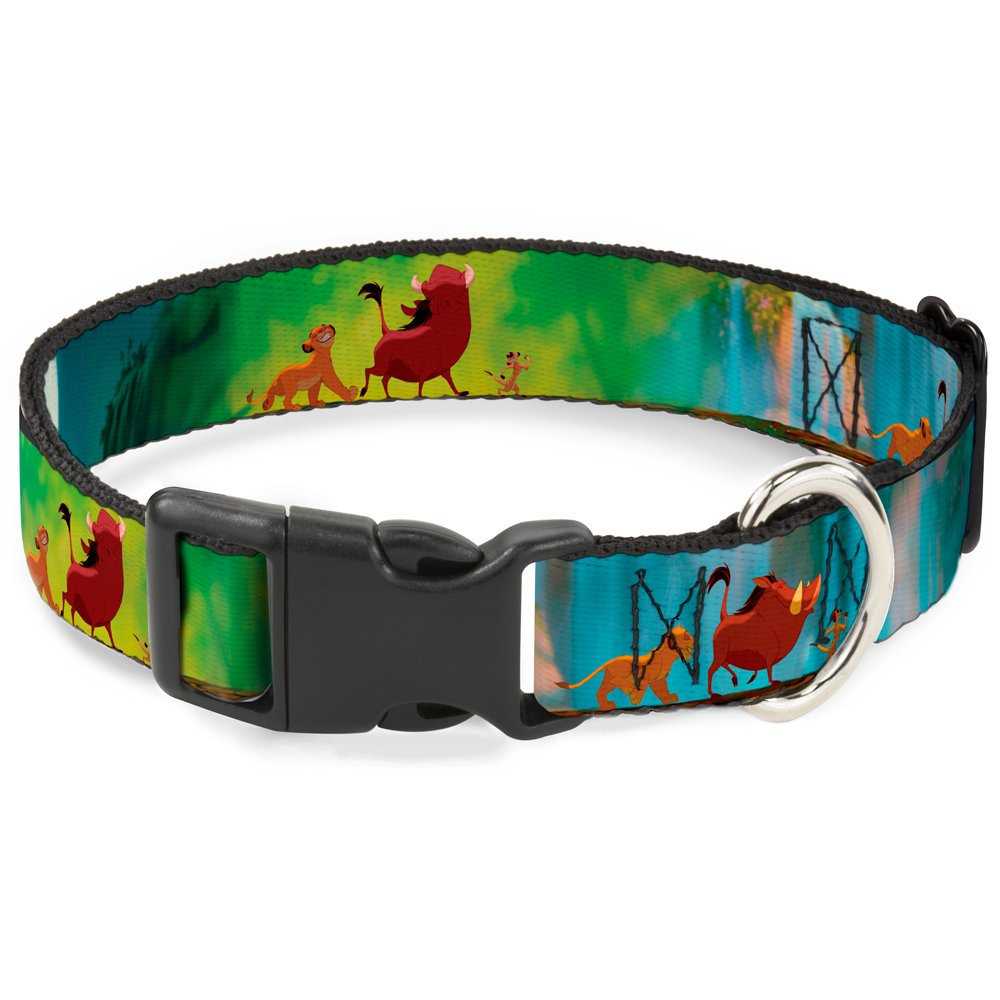 Buckle-Down Breakaway Cat Collar - Lion King Simba, Pumba & Timon Growing Up - 1/2'' Wide - Fits 6-9'' Neck - Small