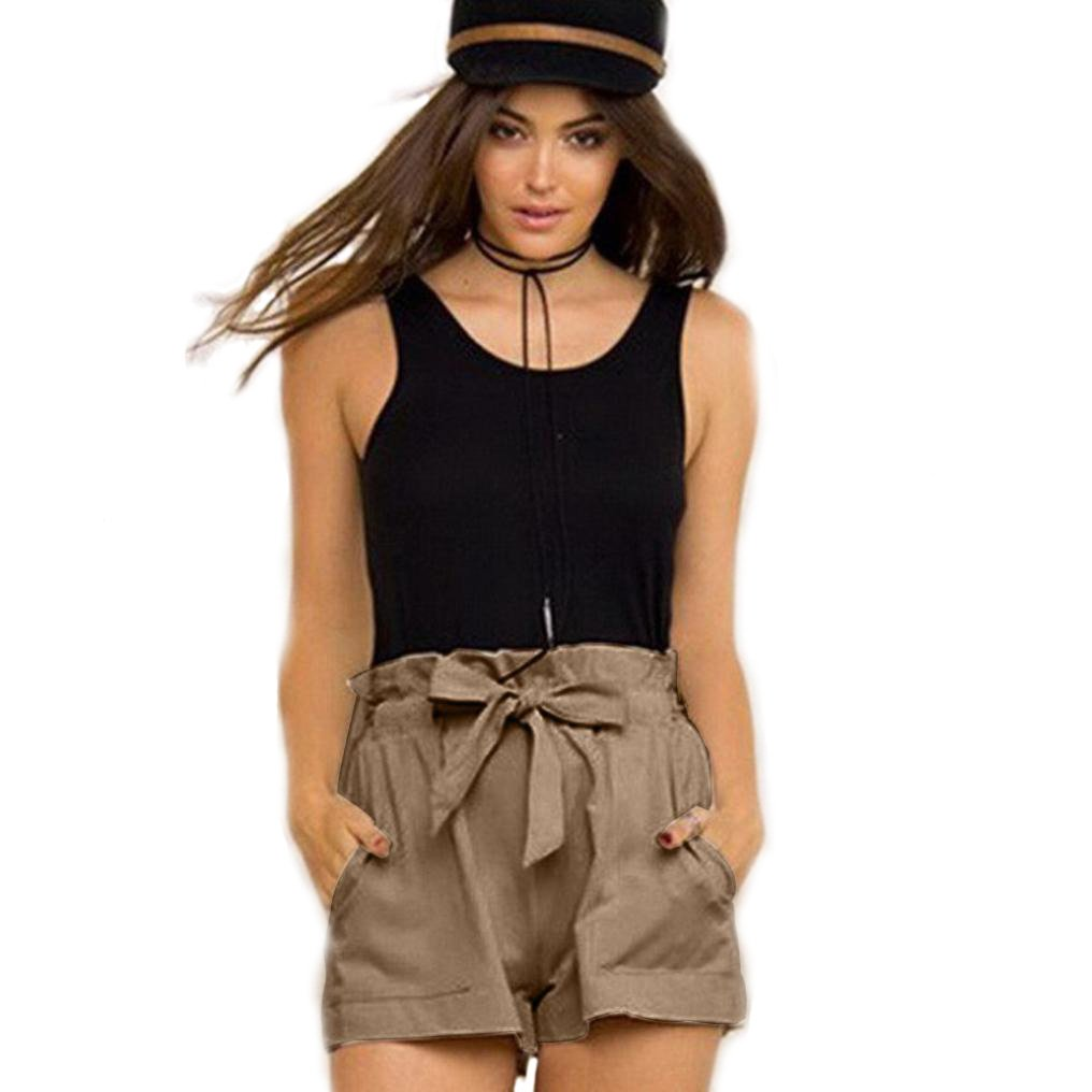 Robiear Women Fashion Casual Design High Waist Loose Shorts With Belt Robiear-4430