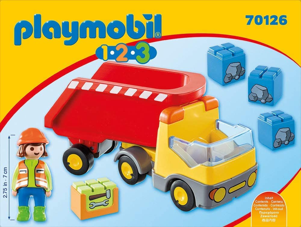 PLAYMOBIL 70126 1.2.3 Dump Truck for Children 18 Months+