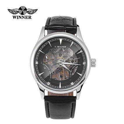3 tipos ganadores reloj de pulsera mecánico ahuecado a mano masculino de la venda del reloj