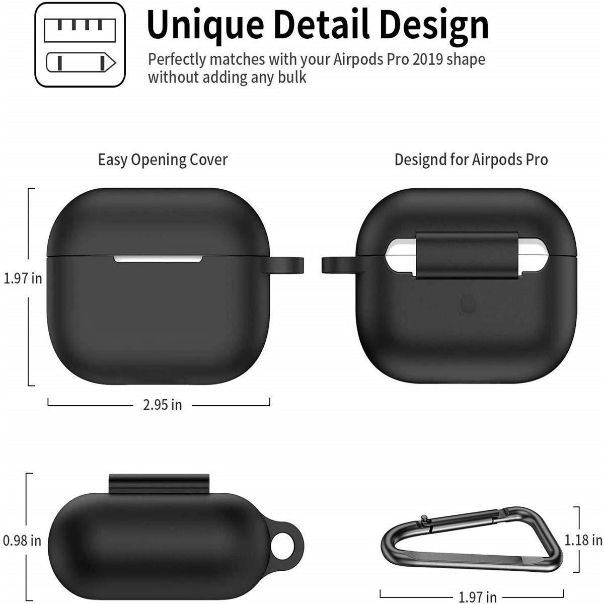 Sto/ßfeste Schutzh/ülle Tragbares Case mit Karabiner LED an der Frontseite Sichtbar Unterst/ützt kabelloses Laden -Schwarz Aerku Silikon H/ülle kompatibel mit AirPods Pro 2019