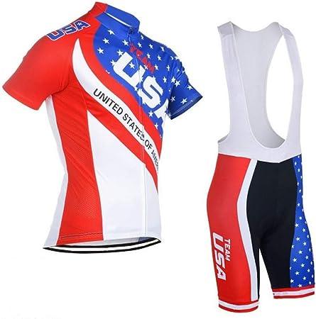 Yajun Maglietta da Ciclismo Abbigliamento Bici T-Shirt Bandiera USA Manica Corta Traspirante per Equitazione Race Bike Bicycle Team