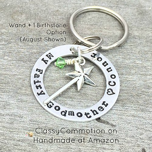 My Fairy Godmother Keychain – Hand Stamped Jewelry – Personalized with Name and Birthstone (optional)