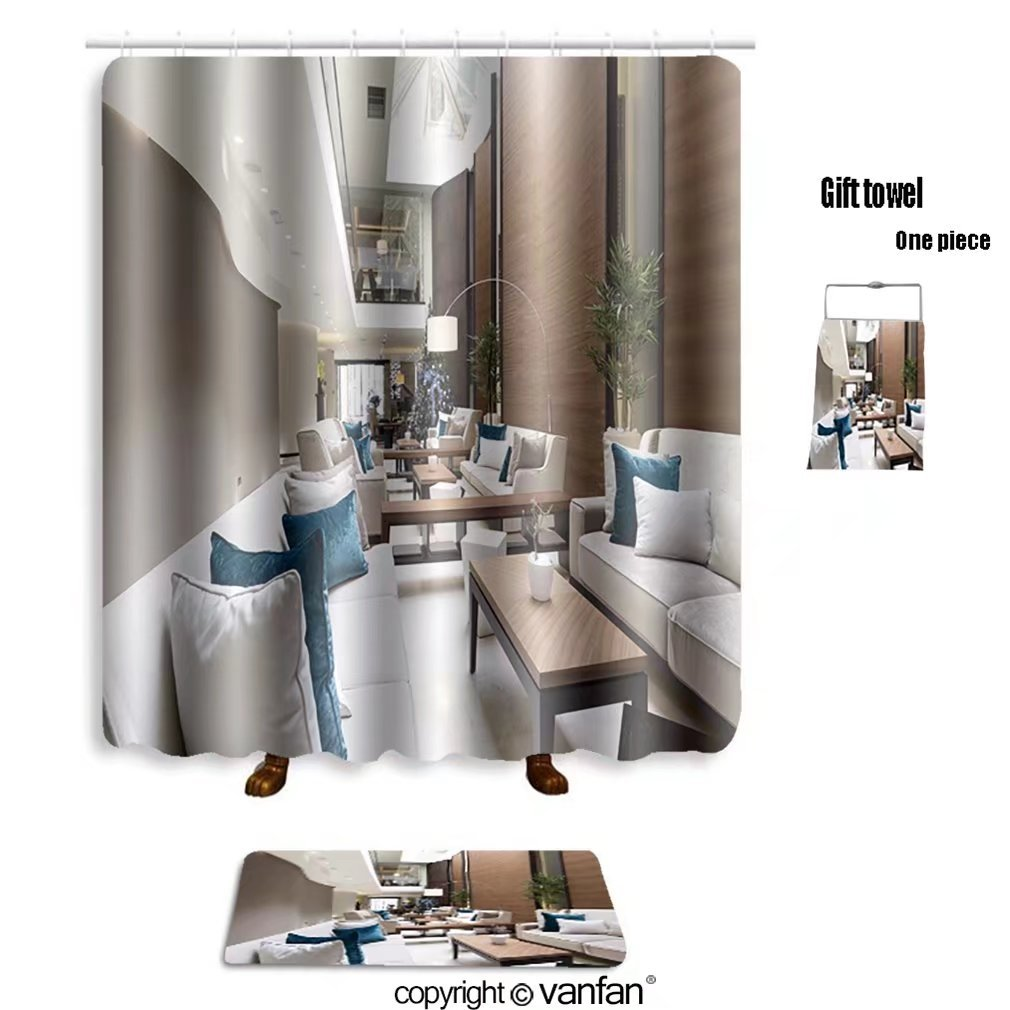 vanfan bath sets with Polyester rugs and shower curtain hotel lobby cafe interior 239485759 shower curtains sets bathroom 69 x 90 inches&31.5 x 19.7 inches(Free 1 towel and 12 hooks)