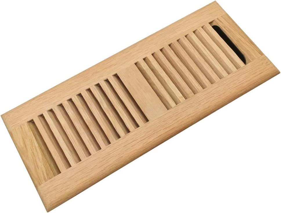 White Oak Wood Floor Register, Drop in Vent Cover with Damper, 4x12 Inch (Duct Opening), 3/4 Inch Thickness, Unfinished