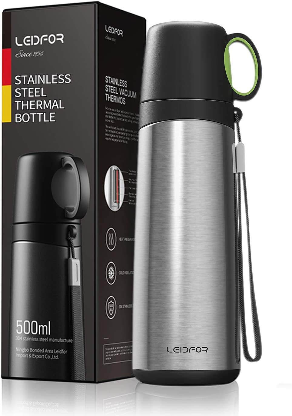 Leidfor Coffee Travel Mug Tumbler Vacuum Insulated Thermal Water Bottle Build-in Lid Cup Stainless Steel Leakproof 17Ounce Silver
