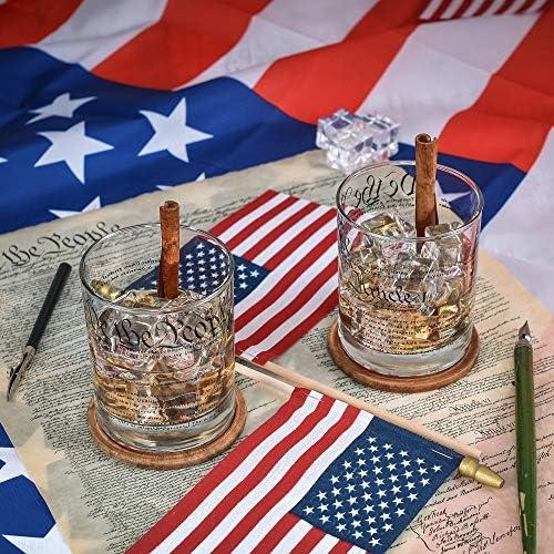 Greenline Goods Vasos de Whisky Constitución de Estados Unidos (Juego de 2) | Vasos de 10 oz - Juego de Regalo patriótico Estadounidense | Copas de ...