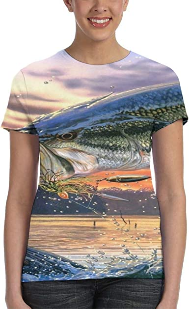 JUMPING RAINBOW TROUT FRONT AND BACK BLACK CREW NECK SHORT SLEEVE TSHIRT