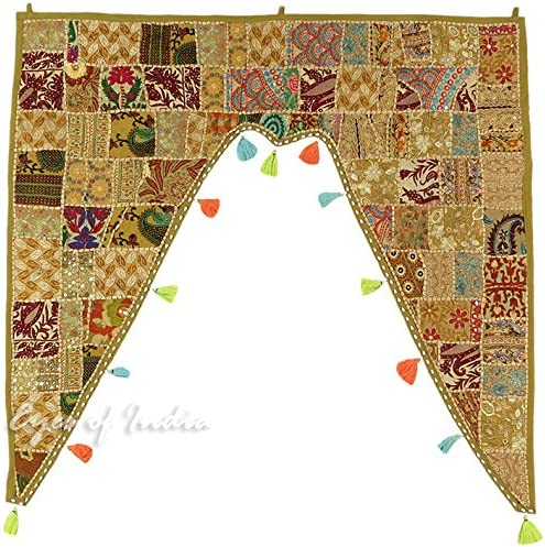Eyes of India – 40 Brown Patchwork Window Door Valance Toran Wall Hanging Bohemian Accent Indian Boho Chic Handmade
