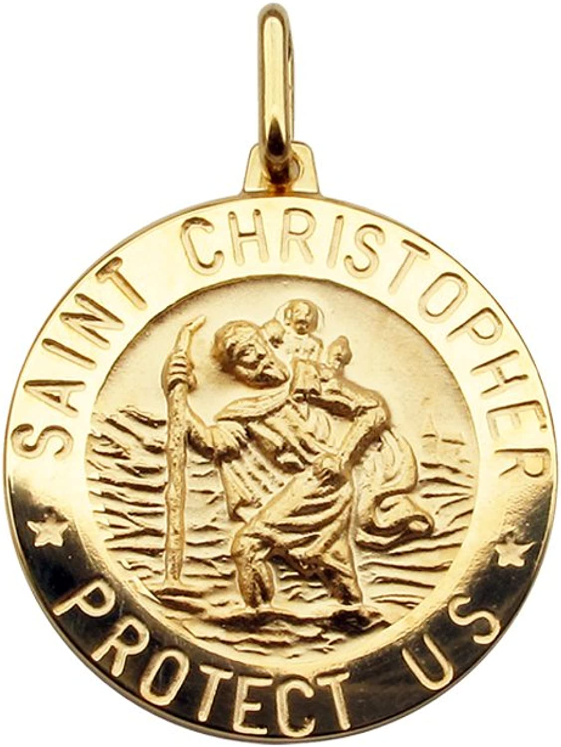 Personalised With Your Engraving Baby Child Christening Gift Solid 9ct Yellow Gold 12mm 3D Round St Christopher Medal Pendant In Gift Box