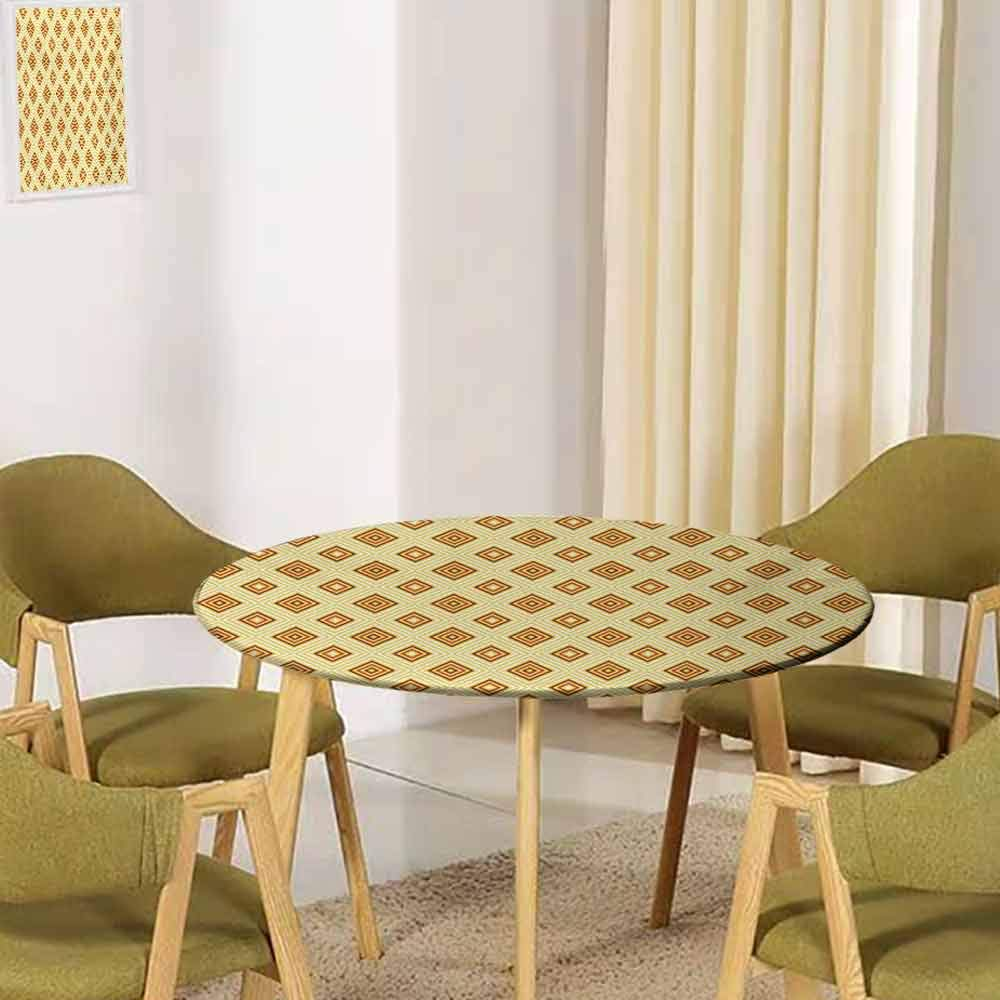 UNOSEKSHOME Retro,Tabletop Decoration Old Fashioned Diamond Shapes with Inner Lines Sixties Style Rhombus Design Buffet Decoration(Elastic Edged) Pale Yellow Amber 39.5''-41.5'' Round