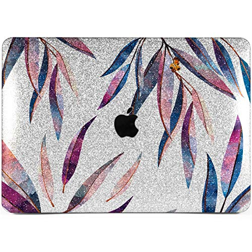Lex Altern Glitter MacBook Air Case 13 15 Pro 12 11 inch 2017 2018 2016 2015 Silver Shiny Purple Leaves Watercolor Mac Leaf Bling Crystal Retina Plant Cover Hard Shell Laptop Apple Protective Women