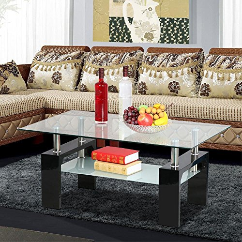 Yaheetech Living Room Rectangular Glass Top Coffee Tables Wood & Chrome Finish Legs with Glass Storage Shelf (Black) (White Glass Top Coffee Table)