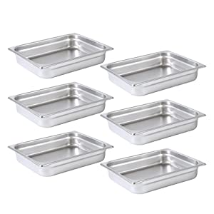 Aplancee Steam Pan 1/2 Size x 2.5 Inch Deep 6 Pack NSF Stainless Steel Anti-Jamming Food Cooking Pan (More Sizes & Lid Options)