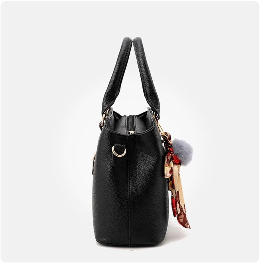 Women Purses and Handbags Double Compartments Tote Bag Leather Satchel Bags for Women Black