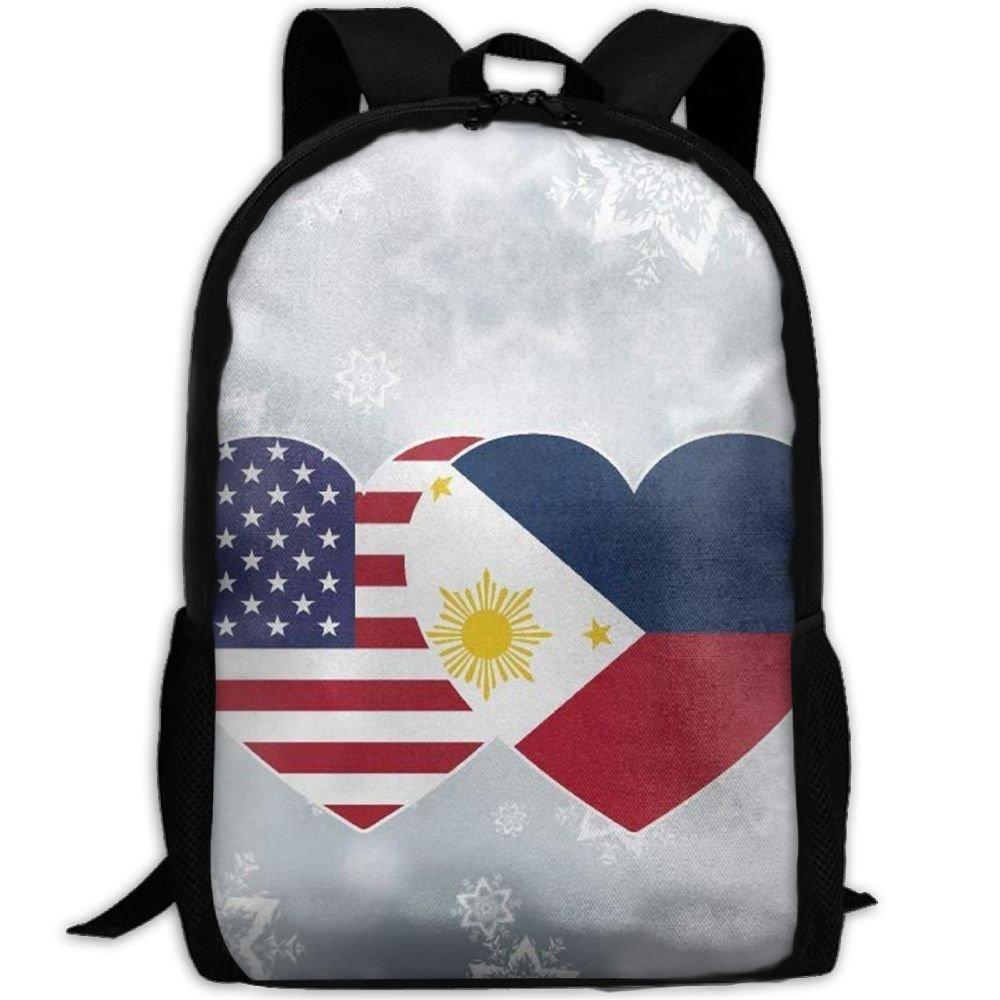 フィリピンmalsjk8 USAフラグツインハートキュートガールズ/ボーイズバックパックforスクールCollegeノートパソコンバッグアウトドアデイパック   B07G22SH8B
