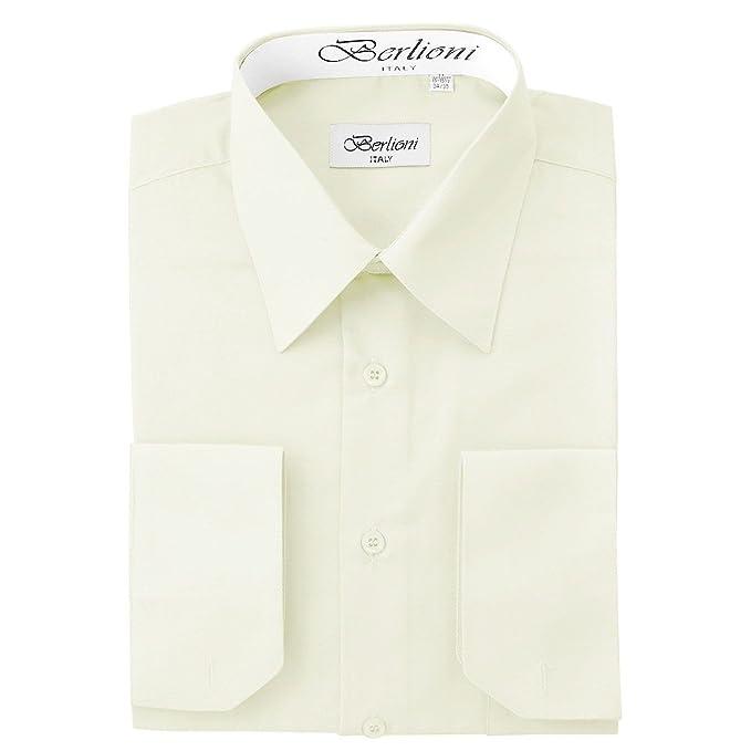 Amazon.com: De los hombres Marfil Sólido Vestido Camisa ...