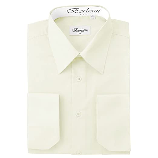 Men S Ivory Solid Dress Shirt At Amazon Men S Clothing Store