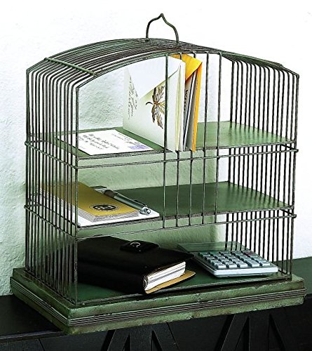 Art Deco Vintage Green Iron Tabletop Shelf   Desk Organizer Caddy Metal
