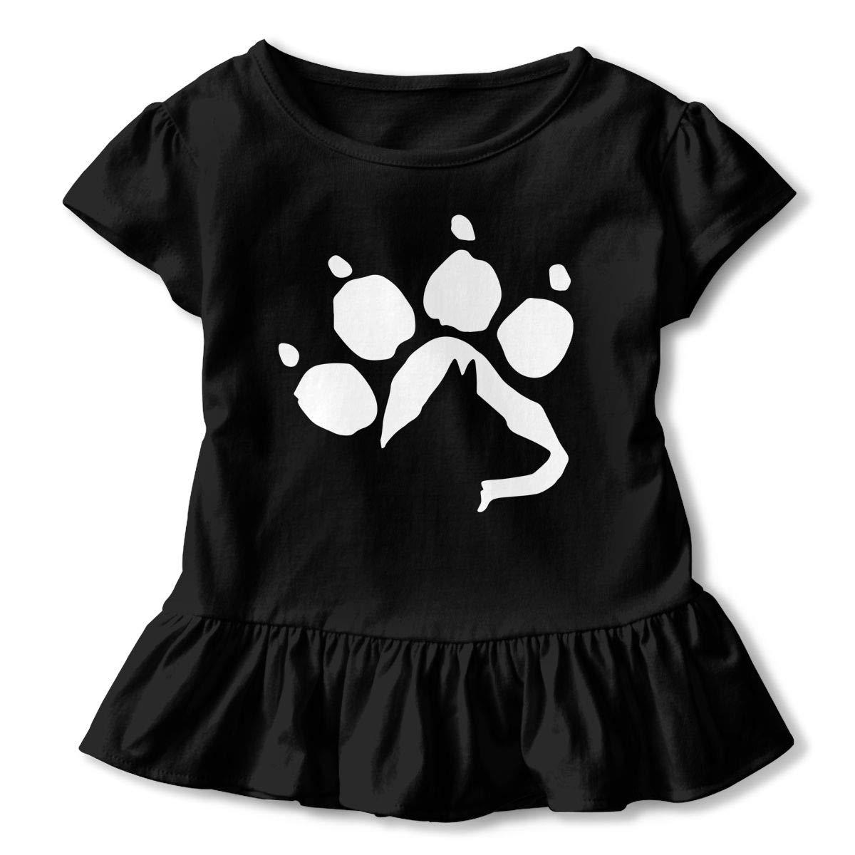 German Shepherd Dog Paw Baby Girls Short Sleeve Ruffles T-Shirt Tops 2-Pack Cotton Tee