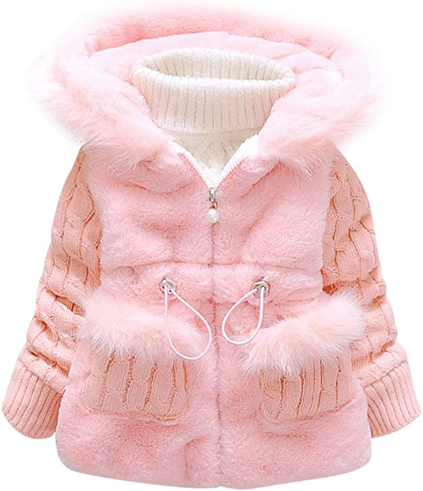 ARAUS Kids Girls Faux Fur Lace Fleece Lapel Coat Winter Warm Jacket Outwear