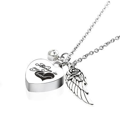Angel wings Cremation Jewellery Ash Locket Heart Memorial Ash Keepsake Necklace & Intial 1QpzNAebG