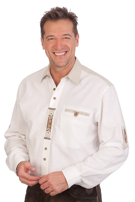 H1637 - Trachtenhemd mit Krempelarm - WERNER - weiß