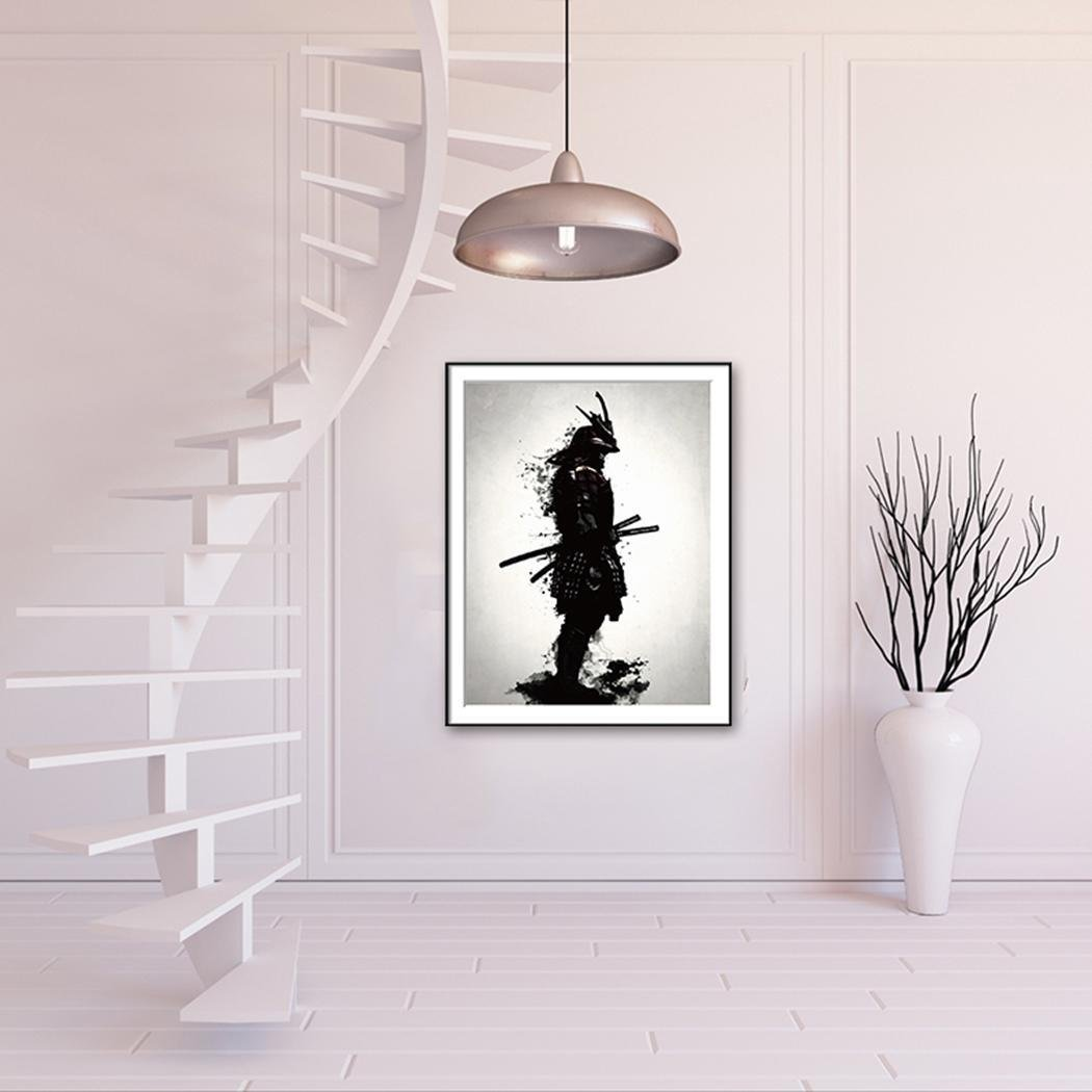 Davitu DIY Modern Style Samurai Canvas Painting Black//White Frameless Samurai Poster Paintings Home Office Wall Minimalist Decor