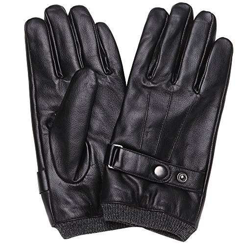 Mens Luxury Touchscreen Italian Nappa Genuine Leather Winter Warm Gloves for Texting Driving Cashmere Lining Blend Cuff (2XL-9.8'', Black) by FLY HAWK (Image #4)