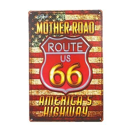 LORENZO Route 66 Wall Sticker Vintage Metal Cartel de Chapa ...